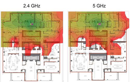 két hőtérkép, amelyek összehasonlítják a WiFi jelerősséget egy épületben 5 gigahertzes és 2,4 gigahertzes frekvencia között