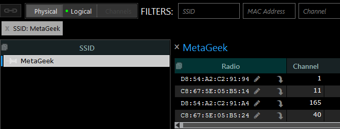 Networks Table showing MetaGeek SSID with unaliased access points and their radios